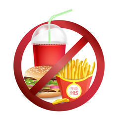 fast food danger label no food or drinks vector image