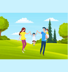 father mom and kid walk on countryside bushes vector image