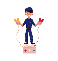 Flat mechanic boy with car bettery charger vector