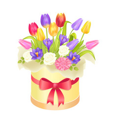 Flowers oval decorative box luxury tulips crocus vector