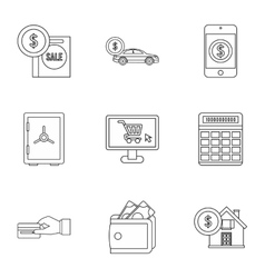 Funding icons set outline style vector