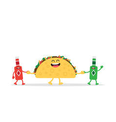 funny taco mexican food vector image