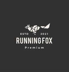 geometric running fox hipster vintage logo icon vector image