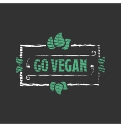Go vegan Organic food engraved icon vector
