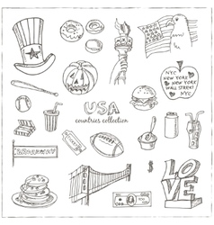 Hand drawn doodle USA symbols set vector image