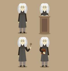 hand drawn legal judge set vector image