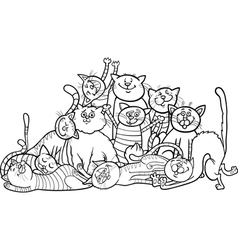 happy cats group cartoon for coloring book vector image