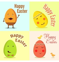 Happy Easter of funny eggs vector image