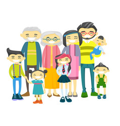 happy extended asian family with many children vector image