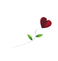 heart-shape rose with leaves on the white vector image