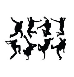 hip hop silhouettes vector image