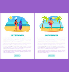Hot summer web posters set woman in bikini man vector