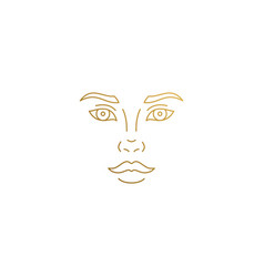 icon woman face hand drawn with thin vector image