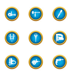Implement icons set flat style vector
