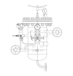 Industrial air filter with taps and pressure gauge vector