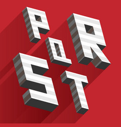 Isometric letters p q r s t drawn with stripes and vector