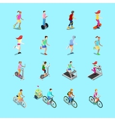 Isometric Sporting People Set Running People vector image