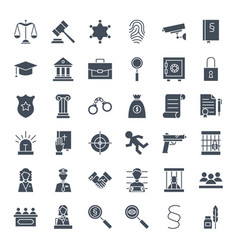 Law justice solid web icons vector