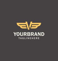 letter v logo template wings design element vector image