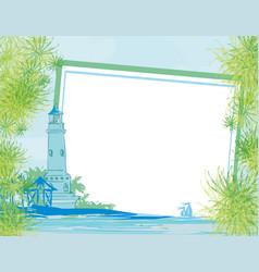 Lighthouse seen from a tiny beach card vector