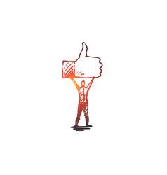 Like symbol good network finger concept hand vector