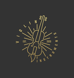 logo violin gold color luxury style vector image