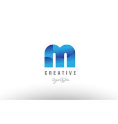 M blue gradient alphabet letter logo icon design vector