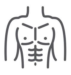 Male torso line icon diet and body man figure vector