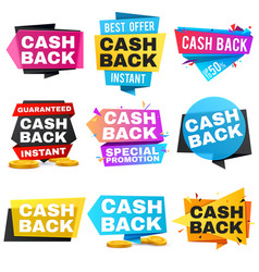 Money cash back labels and stickers set vector
