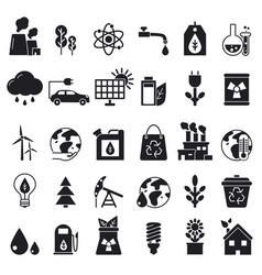 Monochrome icons set of ecology pictures vector