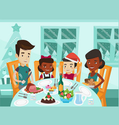 Multiethnic family celebrating christmas day vector