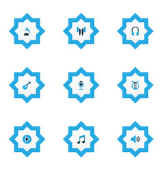 multimedia icons colored set with earphone sound vector image