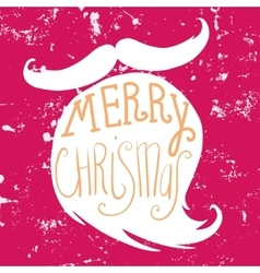 Mustache and beard of Santa Christmas card vector image