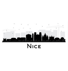 Nice france city skyline silhouette with black vector