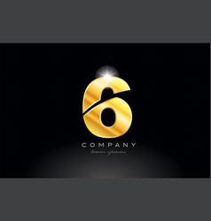 number 6 gold golden metal logo icon design vector image