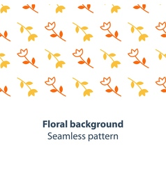 Orange and yellow flowers fancy backdrop pattern vector