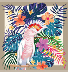 parrot abstract color tropical pattern frame vector image