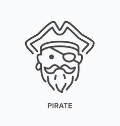 Pirate head flat line icon outline vector