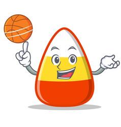 Playing basketball candy corn character cartoon vector