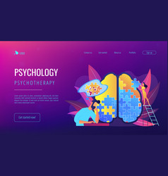 Psychotherapy and psychology landing page vector
