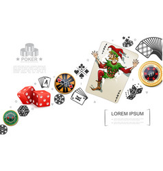 realistic gambling and poker elements concept vector image
