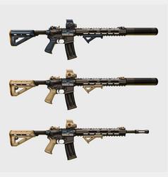 Realistic modern assault rifles set vector