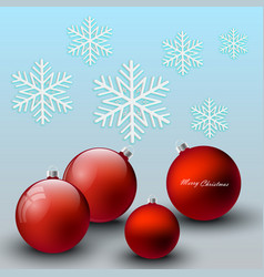 red christmas balls festive background vector image