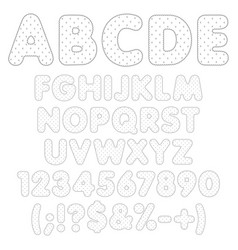 Rippled alphabet numbers with polka dots vector