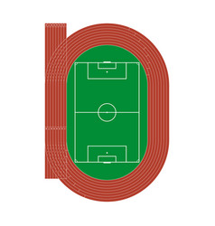running athletics track with soccer stadium top v vector image
