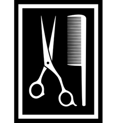 scissors with comb - icon for barbershop vector image