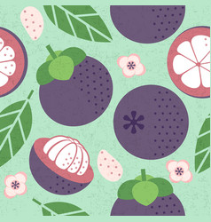 seamless pattern red mangosteen leaves flowers vector image