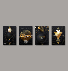 Set abstract black and gold cover design vector