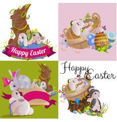 set easter egg hunt funny bunny with basket vector image