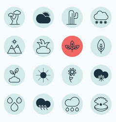 Set of 16 ecology icons includes water drops vector